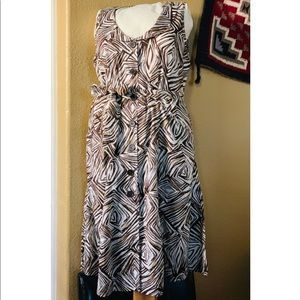 Brown & White Belted Dress with Pockets